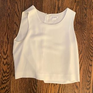 Cropped white silk tank top
